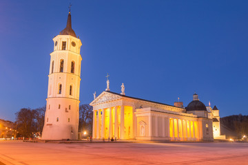 Fototapete - Vilnius - Lithuania. View of the Vilnius Cathedral at Dusk.