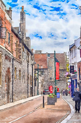 street of old town of Canterbury, UK