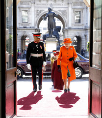 Britain's Queen Elizabeth visits the Royal Academy of Arts in London