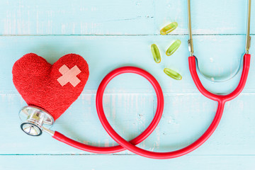 World health day, Healthcare and medical concept. Red heart with Stethoscope, thermometer and yellow Pill on Pastel white and blue wooden table background texture.