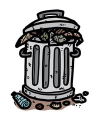 trash / cartoon vector and illustration, hand drawn style, isolated on white background.