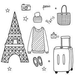 Paris doodle set.