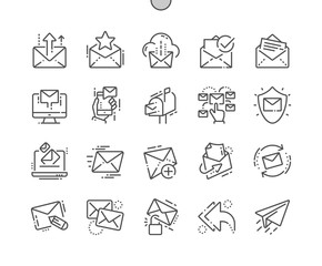 Email Well-crafted Pixel Perfect Vector Thin Line Icons 30 2x Grid for Web Graphics and Apps. Simple Minimal Pictogram