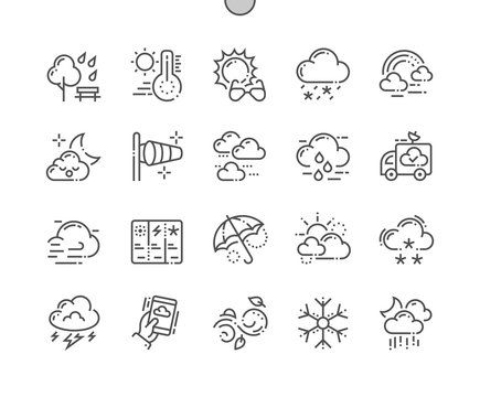 Weather Well-crafted Pixel Perfect Vector Thin Line Icons 30 2x Grid for Web Graphics and Apps. Simple Minimal Pictogram