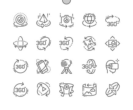 360 degrees Well-crafted Pixel Perfect Vector Thin Line Icons 30 2x Grid for Web Graphics and Apps. Simple Minimal Pictogram