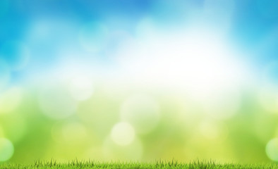 nature bokeh background green grass meadow lawn 3d rendering
