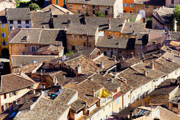 Colorful aerial view of the centre of Cotignac, Provence, France