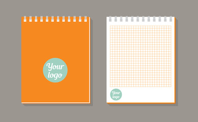 Notebook with spiral binder long shadow icon on dark background. School notebook. Diary for business. Notebook cover design template. Realistic notepad. Vector flat illustration