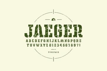 Original stencil-plate slab serif font
