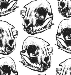 Seamless texture with cat skull. Repeating background. Tile pattern. Can be used as wallpaper, desktop, wrapping, fabric or background for your blog, covers, cards. Black and white..