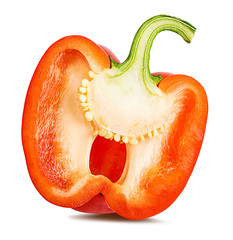 Fresh sweet red  pepper bell isolated on white background with clipping path