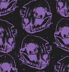 Seamless texture with cat skull. Repeating background. Tile pattern. Can be used as wallpaper, desktop, wrapping, fabric or background for your blog, covers, cards. Black and purple.