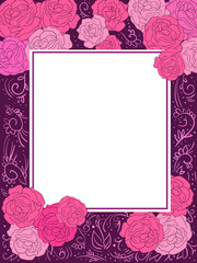 Greeting card with pink and magenta roses on violet background