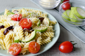 Fusilli Pasta with tomatos and grilled Zucchini, Eggplant