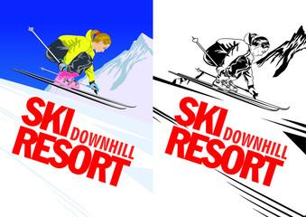 Poster with sport girl skier. Vector illustration.