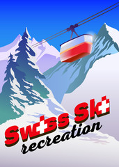 Winter mountain landscape for ski poster with Switzerland flag. Vector illustration.