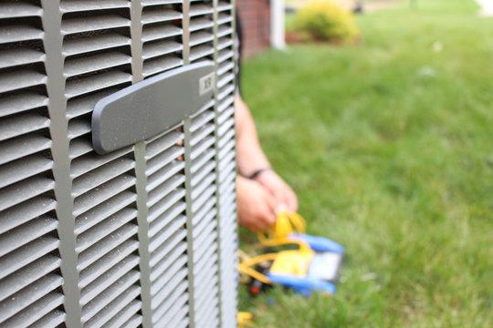 Air conditioning unit close up repair