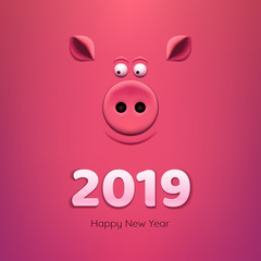 Pig's snout on pink background. 2019 New Year.
