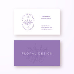 Abstract Feminine Flower Vector Sign or Logo and Business Card Template. Premium Stationary Realistic Mock Up. Modern Typography and Soft Shadows. Good for Flower or Wedding Business.