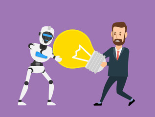 robot humanoid and businessman pulling a lightbulb