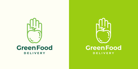 Green Food Delivery Abstract Vector Sign, Symbol or Logo Template. Apple in a Hand or a Palm Emblem Concept with Modern Typography.