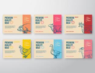 Premium Quality Meat and Poultry Labels Set. Abstract Vector Packaging Design or Label. Modern Typography and Hand Drawn Animals Silhouette Background Layouts.