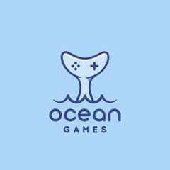 Ocean Games Abstract Vector Sign, Symbol or Logo Template. Gamepad Icon Incorporated in a Whale Tail. Modern Typography. Good for Game Developers or a Cyber Sport Team.