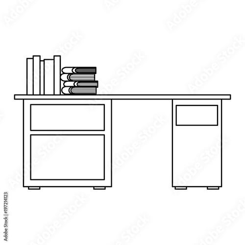 desk with pile books workspace vector illustration outline design