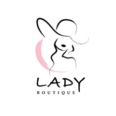Vector artistic logo with hand drawn lady in hat portrait isolated on white background. Outline drawing. Good for women accessory & cloth boutique, cosmetic shop, girl care salon, fashion store emblem