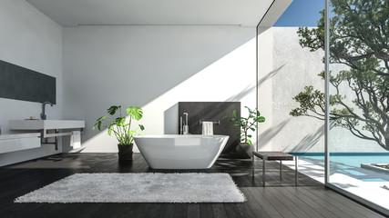 Modern spacious luxury bathroom in sunlight
