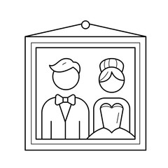 Wedding picture vector line icon isolated on white background. Photo portrait of groom and bride on wedding day line icon for infographic, website or app.