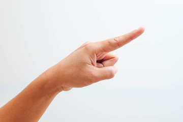 hand pointing on object with forefinger