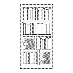 large bookcase with different books literature vector illustration dotted line
