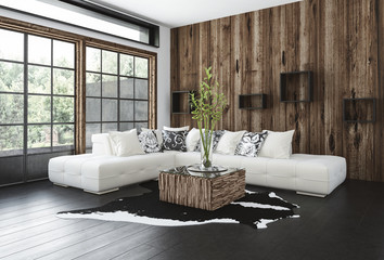 Stylish rustic living room with wood paneling
