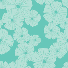 seamless vector spring flowers in mint with a green background