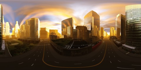 hdri, panorama 360, equidistant projection. Spherical panorama. Panorama of the city. Environment map.