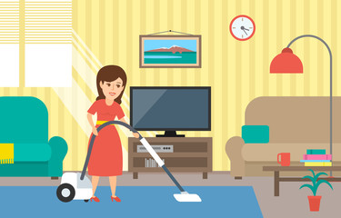 woman housewife cleaning a room with vacuum cleaner