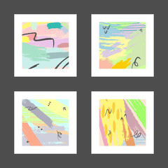 Set of abstract watercolour square patterns for design. Grunge, graffiti, watercolor, brush strokes, paint. Pastel color.