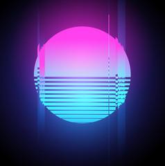 Neon Sun Glitch Effect