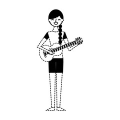 cute character woman playing guitar vector illustration dotted line
