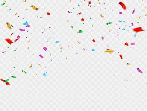 Colorful celebration background with confetti.