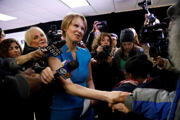 Actress Cynthia Nixon shakes hands at campaign stop after announcing that she is running for Governor of New York in Brooklyn