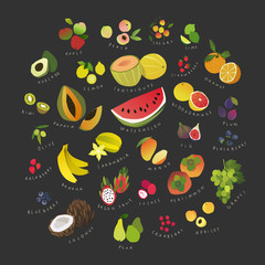 Fruits and berries, clip art collection