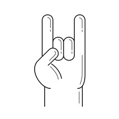 Rock and roll hand vector line icon isolated on white background. Rock and roll hand line icon for infographic, website or app. Icon designed on a grid system.