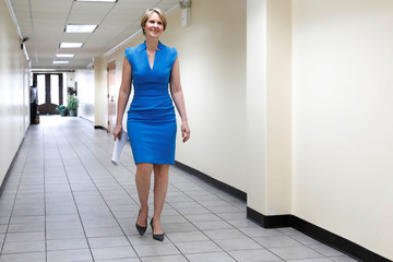 Actress Cynthia Nixon walks to her announcement that she is running for Governor of New York in Brooklyn
