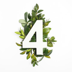 Number for shape with green leaves. Nature concept. Flat lay. Top view