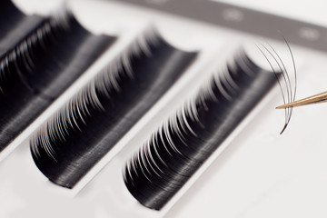 Eyelash extension procedure. Woman with long eyelashes in beauty salon. Lashes close up. Concept spa lash