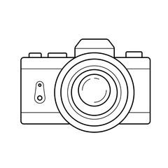 Fototapeta Retro camera vector line icon isolated on white background obraz