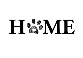 ''Home'' text with paw prints and heart