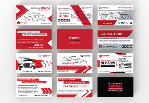 Six Automotive Services Business Card Layouts